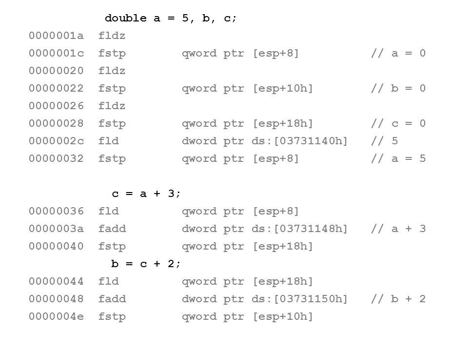 double a = 5, b, c; 0000001a fldz. 0000001c fstp qword ptr [esp+8] // a = 0. 00000020 fldz.